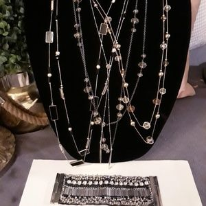 Jewelry bundle 4 long necklaces, 1 bracelet